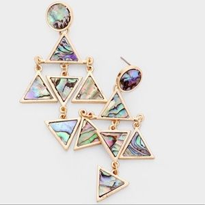 Abalone Triangular Dangle Earrings,NWT